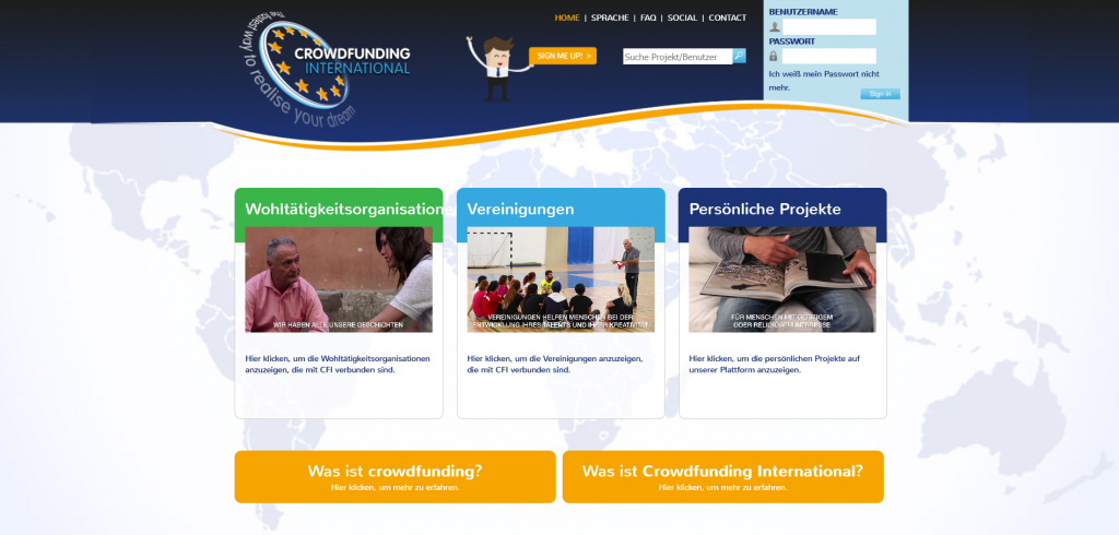 Homepage von Crowdfunding International